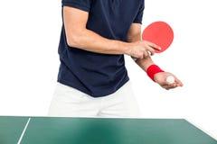 打乒乓球的运动员人的中间部分 库存图片