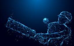 打从形式线和三角,在蓝色背景的点连接的网络的抽象板球运动员墙网球 免版税图库摄影