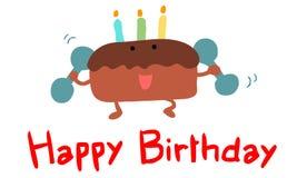 打健身卡片的生日快乐蛋糕 库存照片
