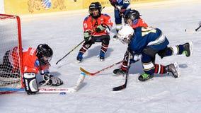 打冰球的德国孩子 图库摄影
