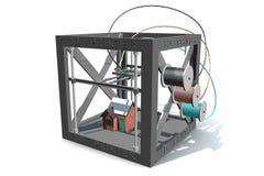 打印一个色的房子的3D打印机的例证 免版税图库摄影