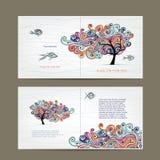 打印与波浪树的设计、盖子和里面页 免版税库存图片