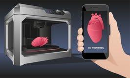 打印人体器官在3D打印机 免版税库存图片