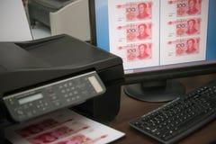 打印假RMB纸币 库存照片