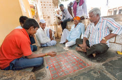 打印地安棋Ashta Chamma,古老gameboard Chowka Bhara的另一个名字的前辈 免版税库存照片