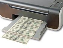 打印机打印伪造品美元 库存照片