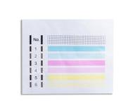打印机被测试的墨水纸照片有数字的 免版税库存图片