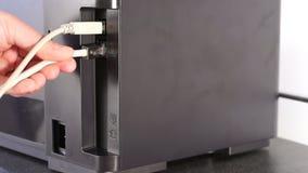 打印机连接导线 影视素材