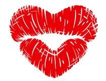 在心脏形状的红色嘴唇印刷品 免版税图库摄影