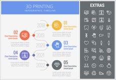 打印infographic模板和元素的3D 皇族释放例证