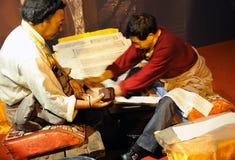 打印sutras西藏人工作者 库存照片