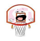 打呵欠的篮球篮动画片 库存照片