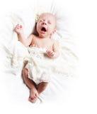 打呵欠的婴孩 库存图片