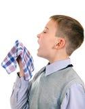 打喷嚏的男孩 图库摄影