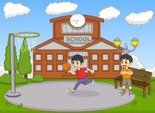 打在学校动画片传染媒介例证的孩子篮球 免版税库存照片
