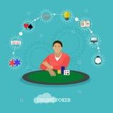 打在桌上的人扑克 赌博娱乐场概念传染媒介例证的人们在平的样式 库存例证