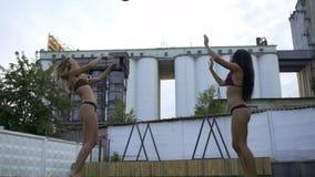 打在比基尼泳装的两美女排球室外 其余泳装的两个女朋友 慢的行动 影视素材