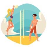 年轻打在海滩的人和妇女排球 向量例证