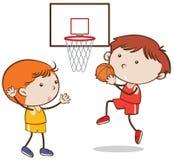 打在白色背景的乱画孩子篮球 向量例证