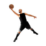 打在白色背景的人篮球 库存图片