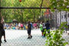 打在街道的行动的年轻人篮球 库存图片