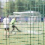 打在运动场的足球赛,在沥青的足球比赛 为足球战斗在体育门 橄榄球 免版税库存图片