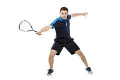 打墙网球的球员 库存照片