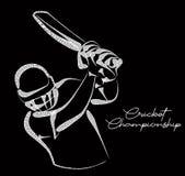 打墙网球-冠军,线艺术设计的板球运动员的概念 皇族释放例证