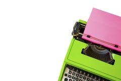 打字机和白色copyspace,博克倒栽跳水 免版税库存照片