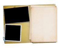 打开与两张老照片的葡萄酒文件夹, 图库摄影