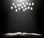 打开与光亮的灯的书 免版税库存照片