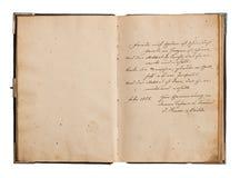 打开与古色古香的德国文本的旧书 免版税库存照片