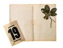 打开与古色古香的日历页的旧书 免版税库存图片