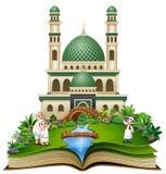 打开与愉快的回教家庭问候的书在清真寺前面 库存例证
