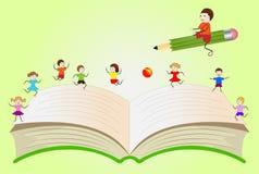 打开与演奏孩子和男孩的书,飞行在铅笔 库存图片