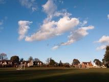 打开与目标岗位公园春天蓝色多云天空的草平原 免版税库存照片