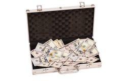 打开与美元的银色案件在白色 免版税库存照片