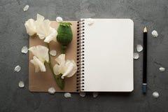 打开与花的空白的学报 库存照片