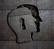 打开与金属齿轮和嵌齿轮3d例证的脑子门 图库摄影
