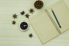 打开与铅笔和指南针的空白的日志 库存图片