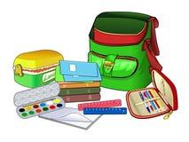 打开书包 学校用品和课本 儿童的创造性的物品 库存图片