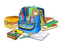 打开书包 学校用品和课本 儿童的创造性的物品 库存照片