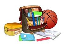 打开书包 学校用品和课本 儿童的创造性的物品 免版税库存图片