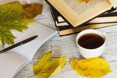 打开书和一个笔记本有笔的和一杯茶在白色 免版税库存图片