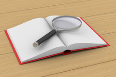 打开书和放大器在白色背景 3d illustr 免版税图库摄影