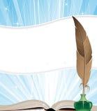 打开书和羽毛 免版税库存照片