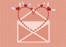 打开信封并且拔出了从他的红色心脏的鸟 免版税库存照片