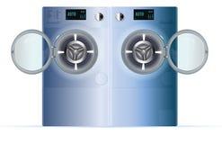 打开双重洗衣机 蓝色钢蒸汽洗涤正面图  库存图片