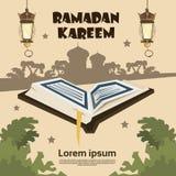 打开古兰经剪影清真寺赖买丹月Kareem宗教圣洁月 免版税库存图片