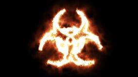 打开和烧在火焰的生物危险标志 皇族释放例证